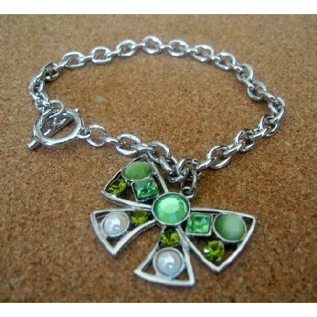 Toggle Bow Bracelet w/ simulated Crystals Awesome in Green