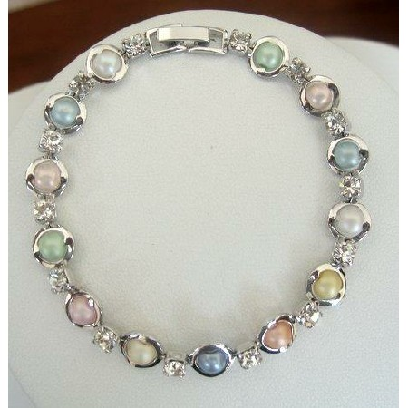 Rodium plated with simulated Multi colored mother Pearls and CZ Bracelet