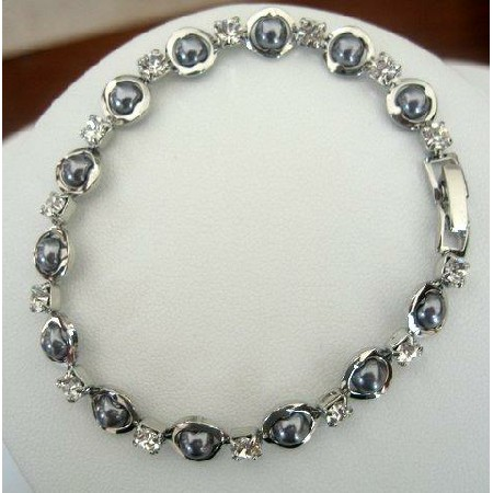 Rodium plated w/ Cultured Grey Pearls & CZ Bracelet