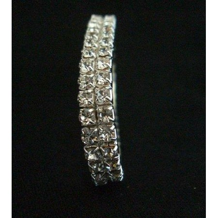 Elegant Glamor Cubic Zircon Bracelet look like Diamond Double Strings