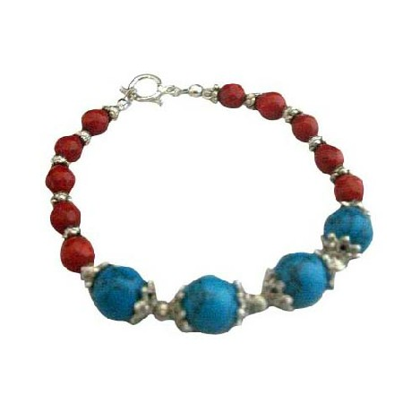 Handcrafted Bracelet Turquoise Coral Red Bead w/ Oxidized Bead Meta