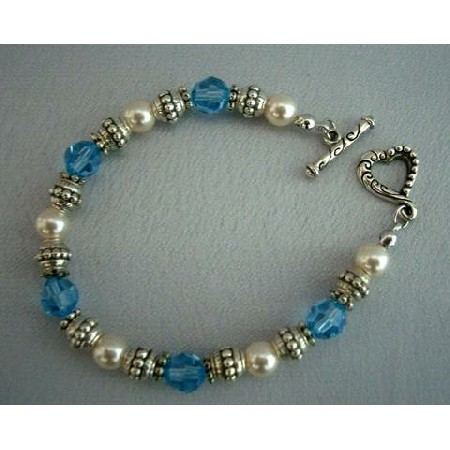 Crystals & Pearls w/ Oxidized 7 inches Bracelets
