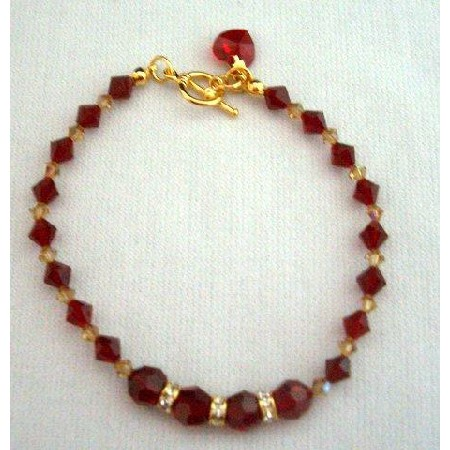 Red Siam Crystal In 22k Gold Plated Bracelet w/ Heart Dangling Toggle Clasp