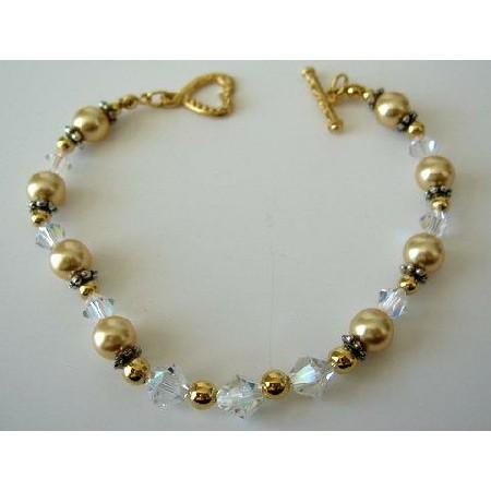 AB Bracelets Bali Silver Bead w/ Heart Toggle Clasp Oxidized