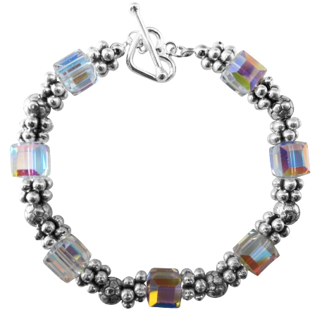 AB Crystals Bracelets w/ Bali Silver Bead Heart Toggle Clasp