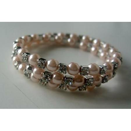 Wire Memory Bracelets Peach & Cubic Zirconia Stones