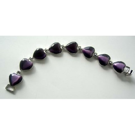 Heart Bracelet Nice Purple Amethyst Simulated Crystals