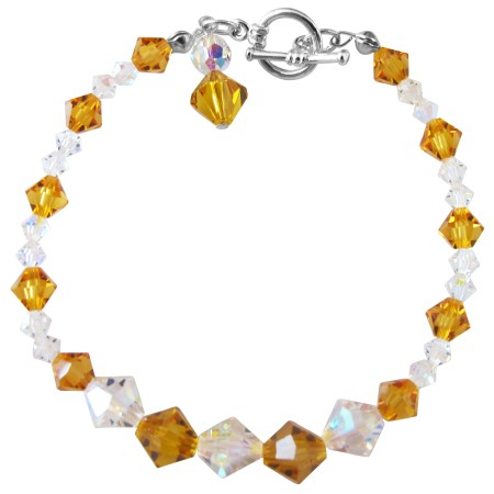 Handcrafted Custom Bracelet Smoked Topaz & AB Crystals
