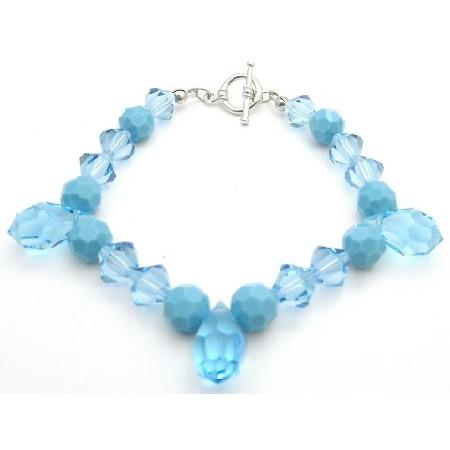 Elegant Bracelet Aquamarine & Turquoise Crystals Tear Drops