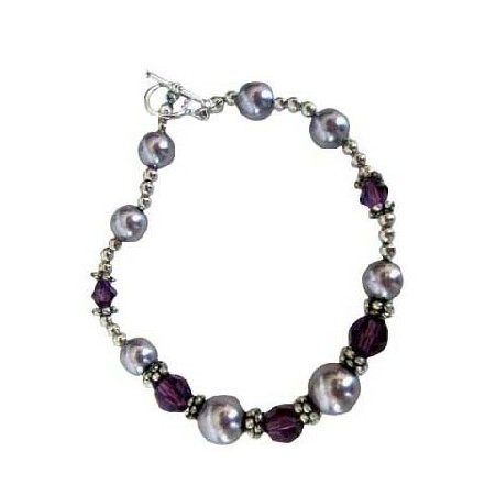 Bali Silver Bracelet w/ Pearls & Crystals 7 inches Bracelet