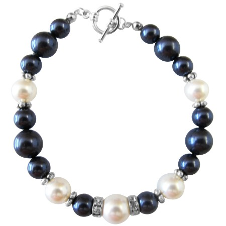 Fine Pearls & Silver Rondells Toggle Clasp 7 inches Bracelet
