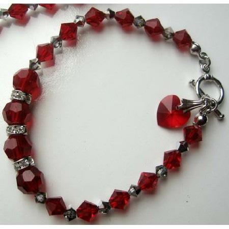 Elegant Heart Dangling Bracelet w/ Red Siam Crystal & Toggle Clasp
