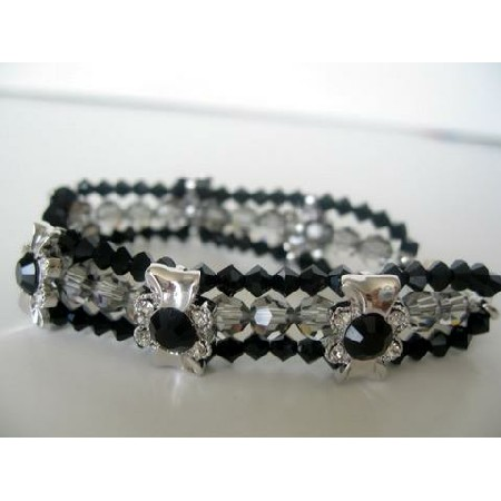 3 Strands Bracelet Black Diamond & Jet Crystals