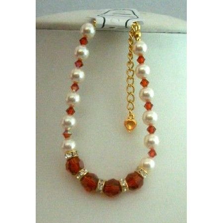 Burnt Orange Crystal Bracelet w/ Cream Pearls & Gold Rondells