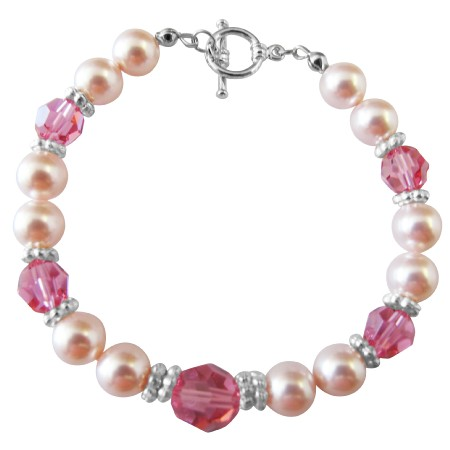 Handcrafted Custom Bracelet Pearl & Crystal Pink Jewelry