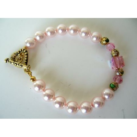 Bridal Party Wear Handcrafted Custom Bracelet Pink Pearl w/ Sterling 92.5 Heart Toggle Clasp