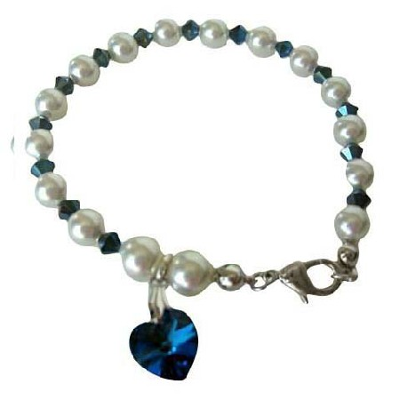 Metallic Sapphire Crystal Heart Bracelet White Pearl Crystal w/ Sapphire Crystal