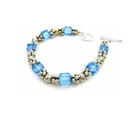 Stunning Elegant Bracelet AB Aquamarine Crystal Bracelet Handcrafted Custom Jewelry