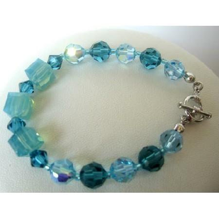 Aquamarine & Indicolite Crystal Bracelet Crystal Bracelets Handcrafted