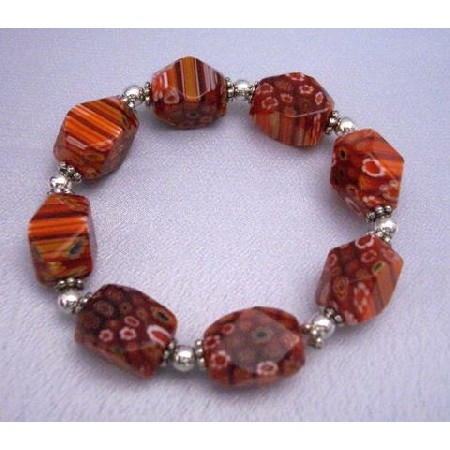 Red Millefiori Bracelet Stretch Bracelet
