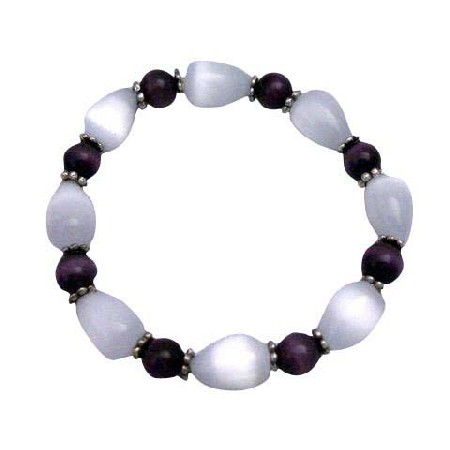 White Cat Eye Tear Drop Purple Cat Eye Handmade Stretchable Bracelet