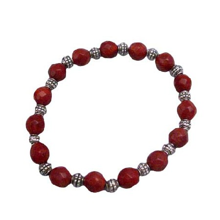 Custom Faceted 7mm Coral Faceted Beads Stretchable Bracelet