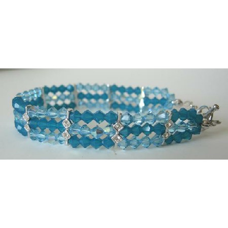 Handmade Crystal Bracelet Carribean Blue & AB Aquamarine Crystal 7 Inches Bracelet