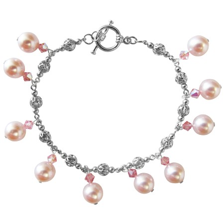 Rose Pink Pearl & AB Rose Pink Crystal Wedding Party Bridal Bridemaides Bracelet