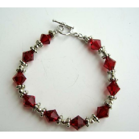 Sterling Silver Siam Red Crystal Bracelet w/ Silver Beads & Daisy Spacer