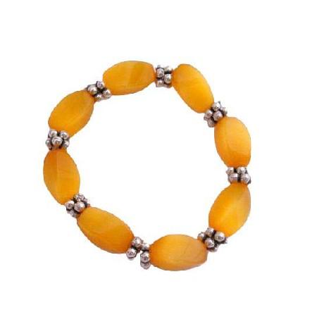 Saffron Citrine Barrel Stretchable November BirthStone Bead Bracelet
