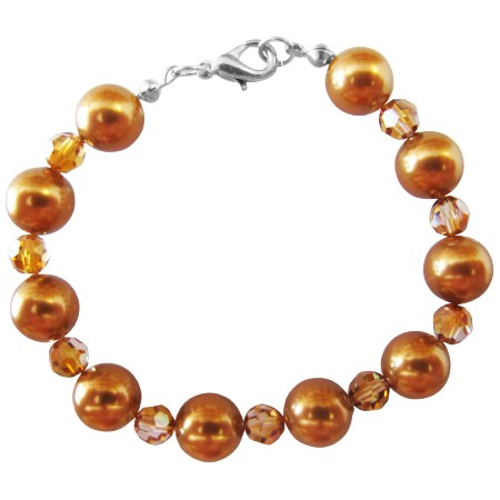 Copper Crystal Pearl Bracelet New Handmade w/ 9mm Pearl Material & 22k Gold Plated Clasp