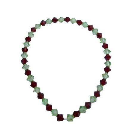 Stretchable Bracelet w/ Siam Red & Peridot Crystals Bracelet