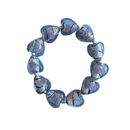 Millefiori Venetian Glass Heart Stretchable Bracelet w/ Silver Beads