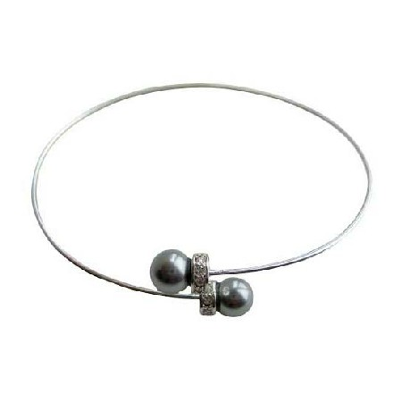 Pearls Wire Cuff Bracelet Silver Rondells Bracelet