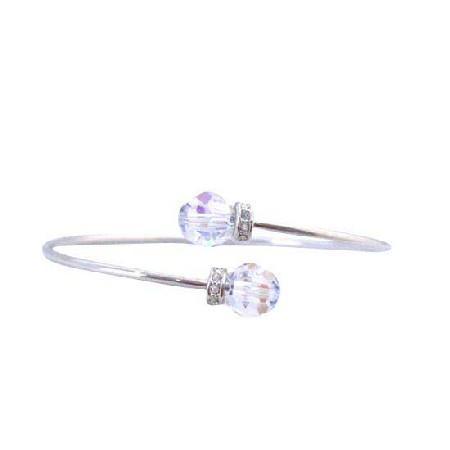 Wire Bracelet AB Crystals Jewelry w/ Rondells