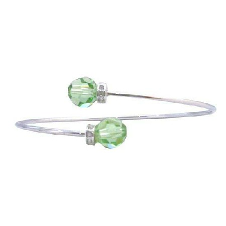 Wire Bracelet Peridot Crystals 8mm Silver Rondells