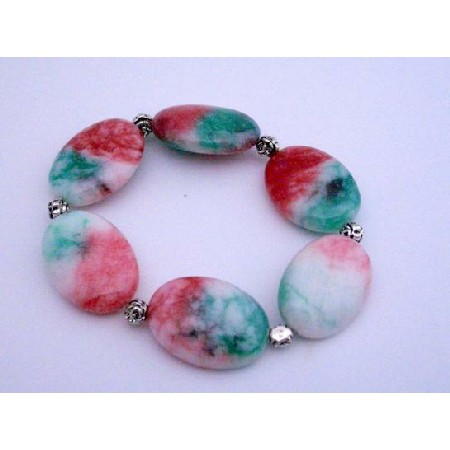 Fancy Agate Stretchable Bracelet Christmas Bracelet w/ Daisy Spacing