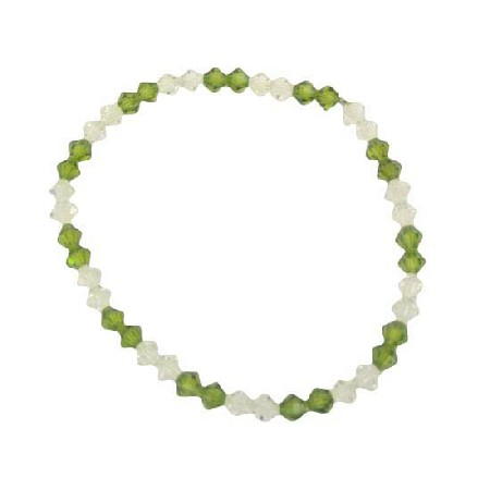 Crystals Stretchable Bracelet Clear Peridot Jewelry