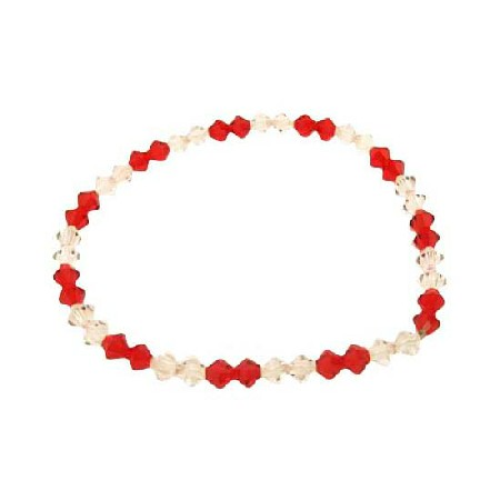 Siam Red Crystals & AB Crystals Stretchable Bracelet