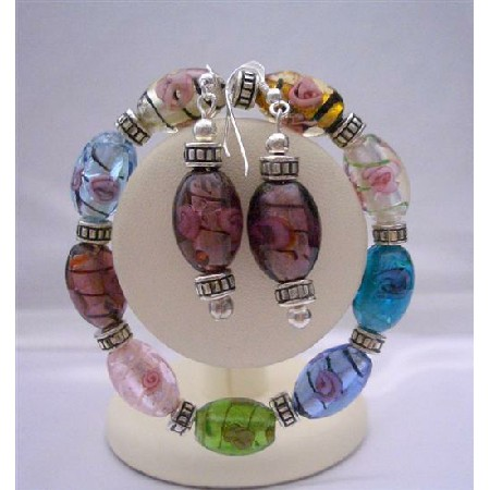Murano Glass Beads Stretchable Bracelet Colorful Earrings Jewelry