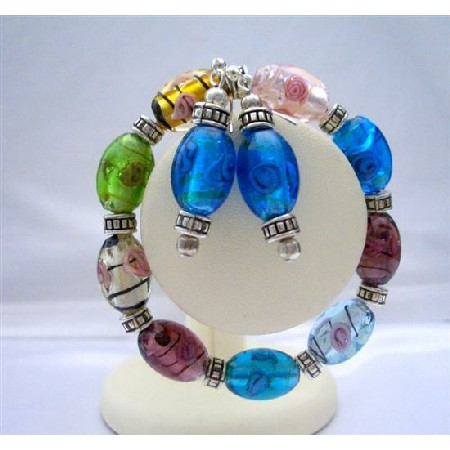 Multi Murano Glass Stretchable Bracelet w/ Sterling Earrings Jewelry