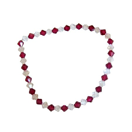 Clear Crystals & Fuchsia Crystals Stretchable Bracelet