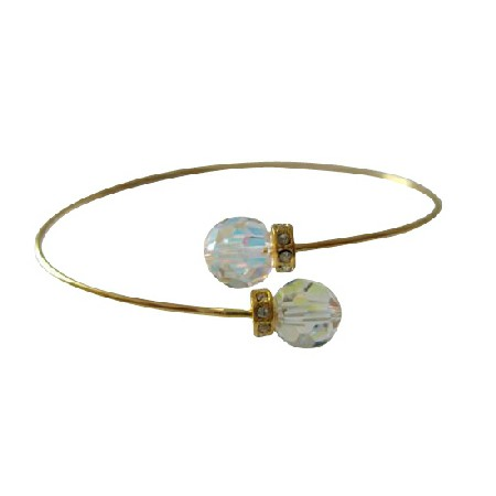 Gold Plated Wire Bracelet AB Crystals Jewelry w/ Rondells