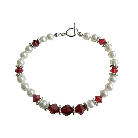 White Pearl And Siam Red Crystal Bracelet Handmade Pearls & Crystal