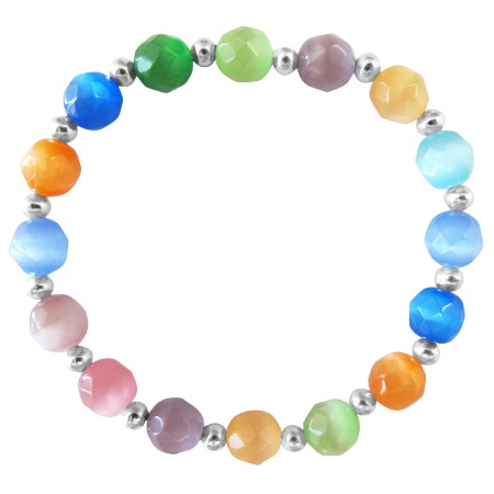 Multi colored Faceted Cat Eye Beaded Stretchable Bracelet Silver Beads