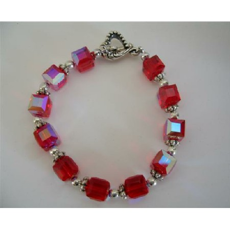 AB Siam Red Crystal Cube Beads Sophisticated Bracelet Handcrafted Custom Jewelry