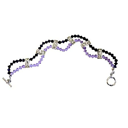 Violet And Purple Crystal 2 Strands Bracelet w/ Cubic Zircon Embeded Rodium Spacer 7 Inches Bracelet