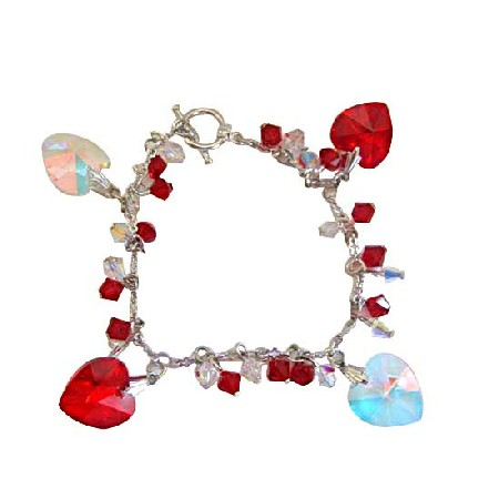 Romantic Jewelry Siam Red Crystal & AB Crystal Bracelets w/ AB & Siam Red Crytal Heart
