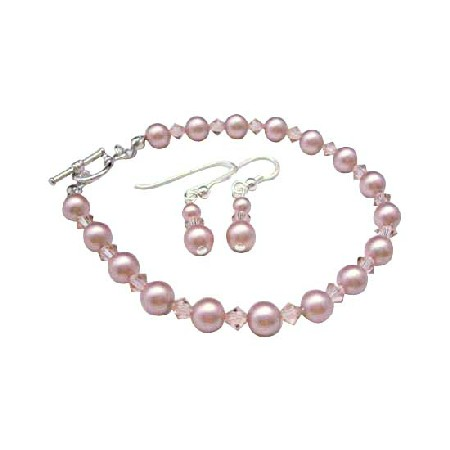 Rose Pink Pearl & Pink Crystal Bridesmaid Bracelet & Earrings Pearls crystals