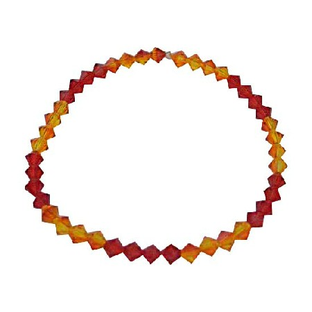 Red Orange Crystals Stretchable Bracelet